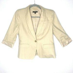 Ann Taylor 3/4 Sleeve Tan Blazer Single Button